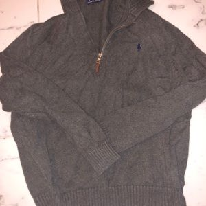 Polo men's zip up pullover sweater L Gray